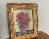 Dollhouse rose painting in a gold frame