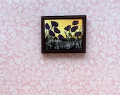 Framed Poppy Painting Miniature Dolls House 1:24 Scale Original Art