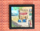 Modern Dollhouse Miniature Painting.  Evening at the cafe