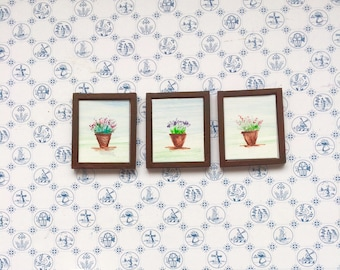 Pots of herbs Dollhouse Framed Miniature Dolls House  1:24 scale Painting Dollhouse