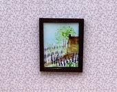 Lavender Cottage Miniature Dolls House 1:24 scale Original Art  Landscape Painting Dollhouse