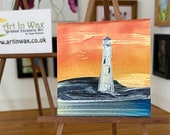 Miniature Art by Hazel Rayfield lighthouse sunset painting