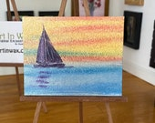 Sunset Sailing Miniature Painting, seascape original art