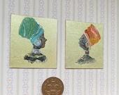 Dollhouse  African Women Portrait Miniature  set of two beautiful lady  paintings