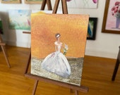 Sunset Bride Wedding Miniature Dolls House Painting Bride