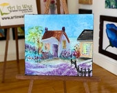 Lavender Cottage Miniature Landscape Painting