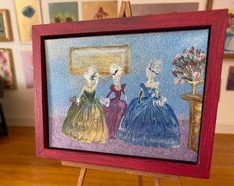 Dollhouse Lady Miniature Painting,  Original Dollhouse Art