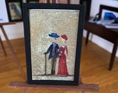 Dollhouse lady and gentleman Painting, framed original art Picture