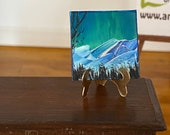 Aurora Borealis inchie Landscape Miniature Original Painting Dolls House Art dollhouse OOAK