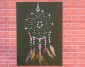 ACEO Collectible dream catcher mixed media painting