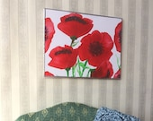Red  Poppy flowers Painting Original modern Art for BJD diorama or  Dolls House miniature Dollhouse Picture