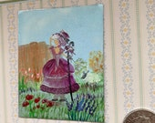 Dolls house miniature little bo peep painting