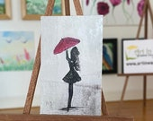Girl with Red Umbrella Original Miniature Painting Modern Art Dollhouse