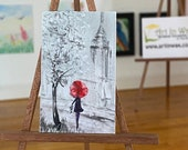 Miniature Painting  New York Rain girl red umbrella