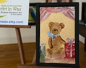 Dollhouse Teddy Bear blue bow Painting, framed original art Picture
