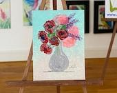 Dolls house picture framed poppy and flower vase. Original art