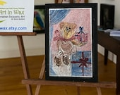 Dollhouse Teddy Bear  Painting, framed original art Picture