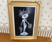 Dollhouse miniature furniture. Framed painting.  Eliza from My Fair Lady ascot dress