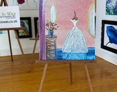 Miniature Wedding dress Bridal Dressing Room Dolls House Painting Original Miniature Art
