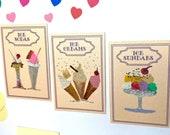 Ice cream Paintings 1:12th scale Paintings Set 0f 3 Dollhouse miniature original art painting