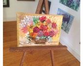 Flower basket arrangement Painting Dolls house Collectible Miniature Art framed