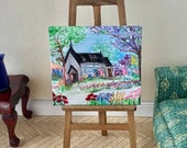 Miniature Dolls House Country church andscape Painting Dollhouse Art 1:12th