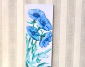 Blue anemone  flowers Painting Original modern Art for BJD diorama or Dolls House miniature Dollhouse Picture