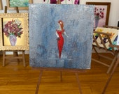 Lady In Red Miniature Painting Dollhouse Contemporary Art | Dolls House Painting