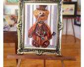 Steampunk Teddy Painting  Dolls House Original Art Miniature Collectible Dolls House Framed Painting by Miniature Artist Hazel Rayfield