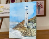 Miniature lighthouse landscape  Dollhouse painting original Art