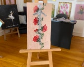 Miniature Dollhouse Art. Red roses and sword painting