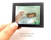 Boat jetty Landscape Miniature Painting Original dollhouse 1:12
