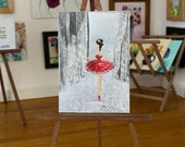 Ballet miniature painting, Dolls House Ballerina in red Original Art Painting