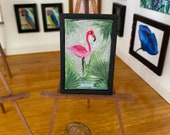 Pink flamingo Dollhouse Picture frame original miniature art