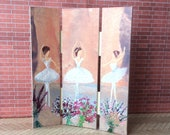 Ballet  Dolls House screen Hand painted OOAK Dollhouse furniture 1:12th scale