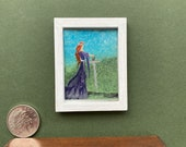Miniature Dollhouse Art Medieval Style lady with sword. Guinevere and Excalibur maybe ?