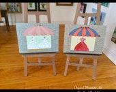 Shop Window Paintings set of 2 Dollhouse miniature original art paintings