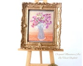Dolls house flower painting Collectible Miniature Art framed 1:12
