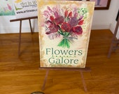 Dollhouse flower  Shop,  Sign Vintage Style, Painting, 1:12th scale miniature  art