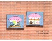 Cake Shop and florist Window Paintings set of 2 Dollhouse miniature original art paintings