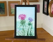 Dolls House Thistle Miniature Painting DollHouse  Picture Original Art In Wax