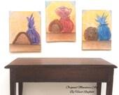 Chocolate Paintings 1:12th scale Paintings Set 0f 3 Dollhouse miniature original art painting
