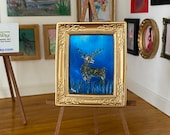 Miniature Stag Landscape night framed painting Dolls House Painting Dollhouse Art 1:12th picture