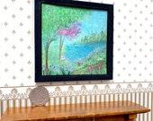 Lake Landscape miniature painting. Original OOAK Art in Miniature