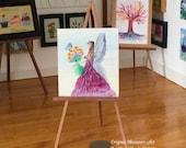 Fairy Original miniature art Dolls House Painting flower fairy