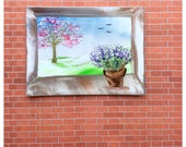 Window Painting 1:12th Blossom Landscape Dollhouse Art Flowers on the Window sill