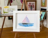 Sail Boat Miniature Collectible dollhouse framed original art