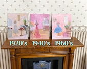 Dollhouse Art Retro dress paintings in a dressing room Set of three