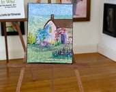 Dolls house picture Wisteria Cottage  Painting miniature hazel rayfield