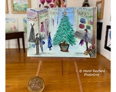 Christmas Shopping Street Scene Painting Original Miniature Art Collectible picture